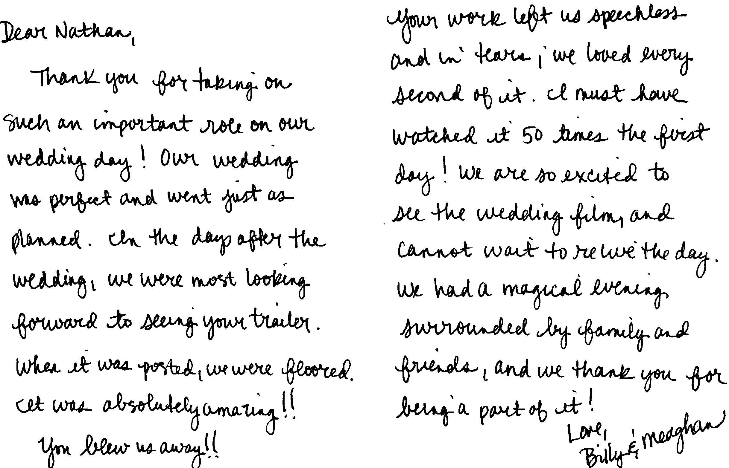 Chicago wedding videographer thank you note review