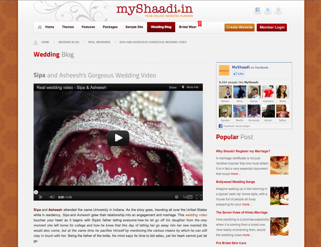 US Indian wedding videographer featured on MyShaadi.in blog