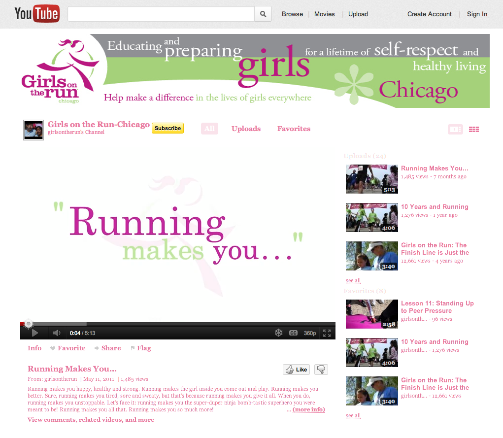 Girls on the Run Branded YouTube Channel
