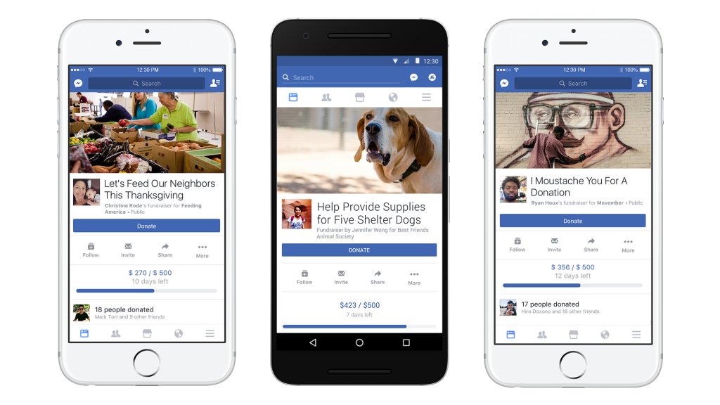 Facebook fundraisers donate button